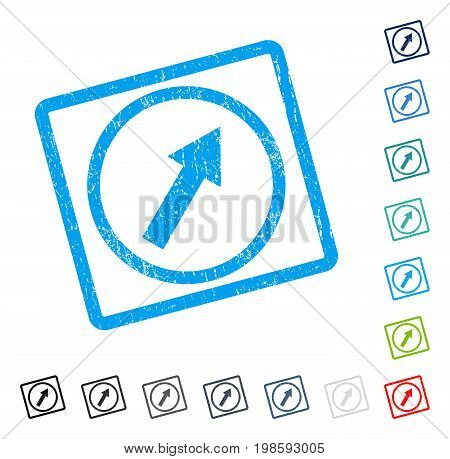 Up-Right Rounded Arrow rubber watermark in some color versions.. Vector pictogram symbol inside rounded rectangle with grunge design and dirty texture. Stamp seal illustration, unclean sign.
