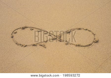 infinity symbol written on sand on the beach