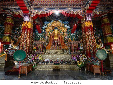 Interior Of Tibetan Temple In Bodhgaya, India