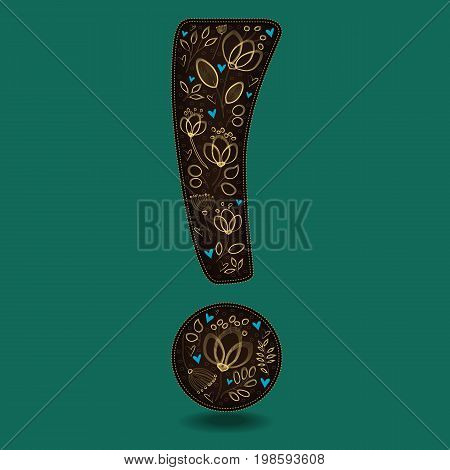 Vintage Dark Brown Exclamation Point with Golden Floral Decor. Yellow graceful flowers and plants. Blue small hearts. Green background. Illustration