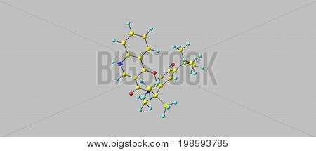 Ivacaftor is a drug used to treat cystic fibrosis in people with certain mutations in the cystic fibrosis transmembrane conductance regulator gene. 3d illustration