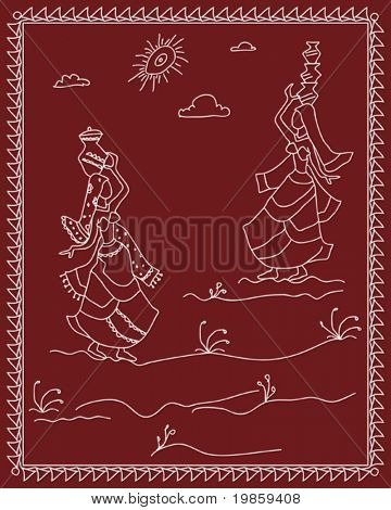 Folk, tribal Designs, Motif, wall painting, Indian Village Lady with water pot