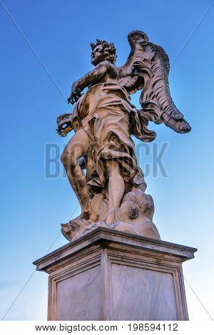 Bernini Angel Castel Ponte Sant Angelo Rome Italy. Gian Lorenzo Bernini famous Italian sculptor in 1600s.
