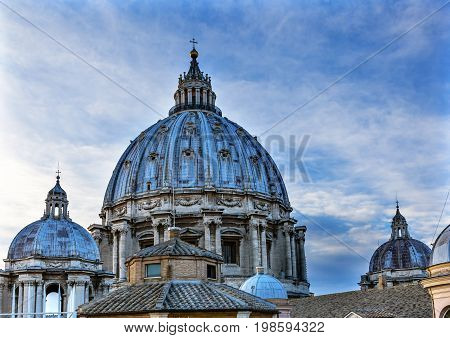 ROME, ITALY - JANUARY 18, 2017 Domes Roof Saint Peter's Basilica Vatican Rome Italy. Michaelangelo built dome in the 1600s.