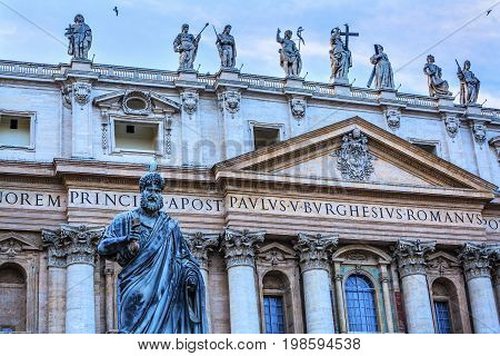 ROME, ITALY - JANUARY 18, 2017 Facade Statues Saint Peter's Basilica Saint Peter Keys Statue's Basilica Vatican Rome Italy. Statue commissioned in 1847 by Giuseppe De Fabris.