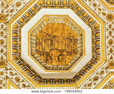 ROME, ITALY - JANUARY 18, 2017 Golden Pope Meeting Above Altar below Dome Saint Peter's Basilica Vatican Rome Italy. Dome built in 1600s over altar and St. Peter's tomb