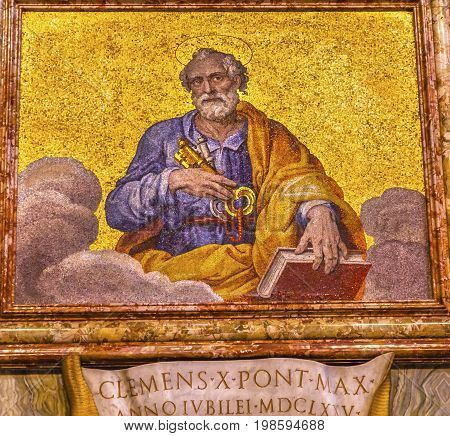 ROME, ITALY - JANUARY 18, 2017 Saint Peter Christ's Disciple Church Keys Mosaic Saint Peter's Basilica Vatican Rome Italy. Mosaic under Michaelangelo's Dome Created in 1600s over altar and St. Peter's tomb Keys come from Christ's statement to Peter on thi