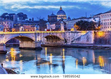Vatican Dome Tiber River Ponte Bridge Vittorio Emanuele III Rome Italy. Bridge built in 1886 near Vatican.