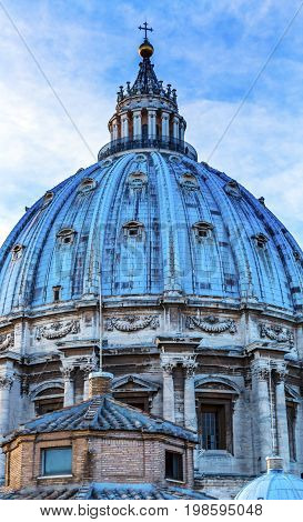 ROME, ITALY - JANUARY 18, 2017 Saint Peter's Basilica Michelangelo Dome Vatican Front