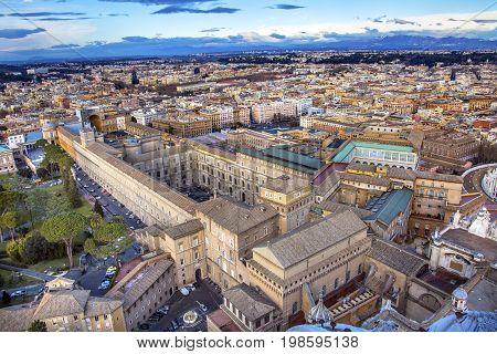 ROME, ITALY - JANUARY 18, 2017 Vatican Museum Sistine Chapel Saint Peter's Basilica Cityscape Vatican Rome Italy