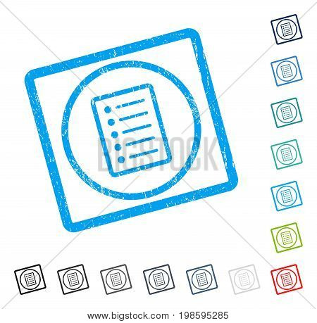 List Page rubber watermark in some color versions.. Vector icon symbol inside rounded rectangular frame with grunge design and dust texture. Stamp seal illustration, unclean sign.