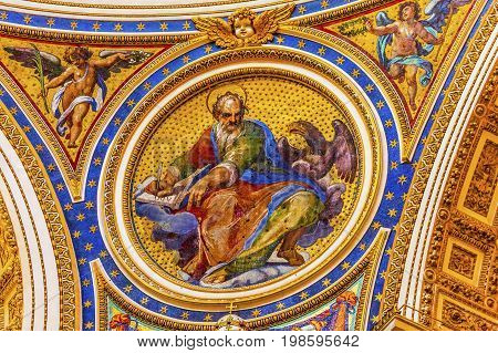 Saint Jonh Eagle Gospel Writer Evangelist Mosaic Angels Saint Peter's Basilica Vatican Rome Italy. Mosaic right below Michaelangelo's Dome Created in 1600s over altar and St. Peter's tomb