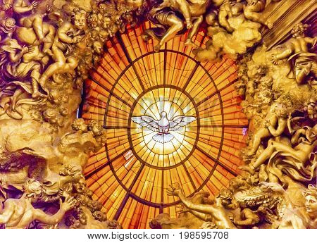 ROME, ITALY - JANUARY 18, 2017 Throne Bernini Holy Spirit Dove Saint Peter's Basilica Vatican Rome Italy. Bernini created Saint Peter's Throne with Holy Spirti Dove Stained Glass Amber in 1600s
