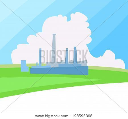 Factory  on a clean green landscape. Vector Illustration.