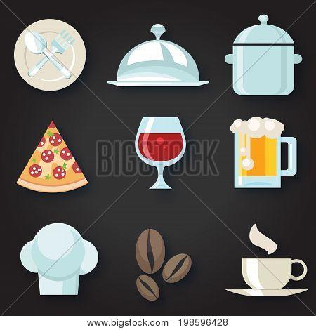 Food Icons Set. Vector illustration for bussines designs.
