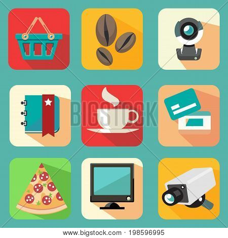 Set of shopping icons. Vector illustration for bussines designs.