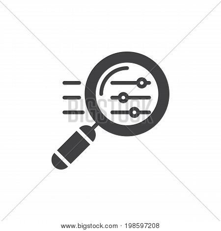 Magnifying glass with settings sliders icon vector, filled flat sign, solid pictogram isolated on white. Symbol, logo illustration. Pixel perfect vector graphics