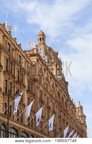 LONDON UNITED KINGDOM - JUNE 23 2017: Harrods luxury department store seasonal sale. 7-storey building built in 1905 has 330 departments covering 90000 m2 of retail space