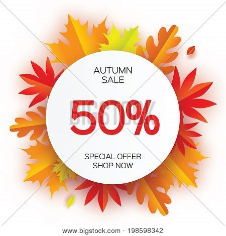 Beautiful Autumn paper cut leaves. Sale. September flyer template. Circle frame. Space for text. Origami Foliage. Maple, oak. Fall poster background. Vector illustration.
