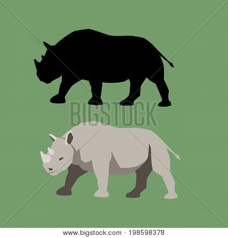 rhino vector illustration style flat black silhouette