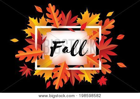 Beautiful Autumn Fall Paper Cut Leaves. Hello Autumn. September flyer template. Rectangle frame. Space for text. Origami Foliage. Maple, oak. Fall poster. Black background. Vector illustration