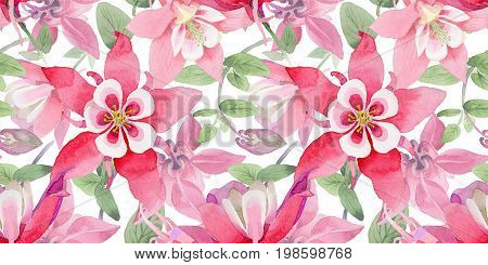 Wildflower aquilegia  flower pattern in a watercolor style.