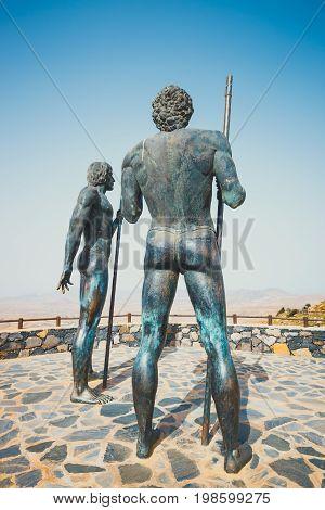 Fuerteventura Spain April 01 2017: the statues at Mirador Corrales de Guize were created by Emiliano Hernandez