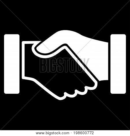 Acquisition Handshake vector icon. Flat white symbol. Pictogram is isolated on a black background. Designed for web and software interfaces.
