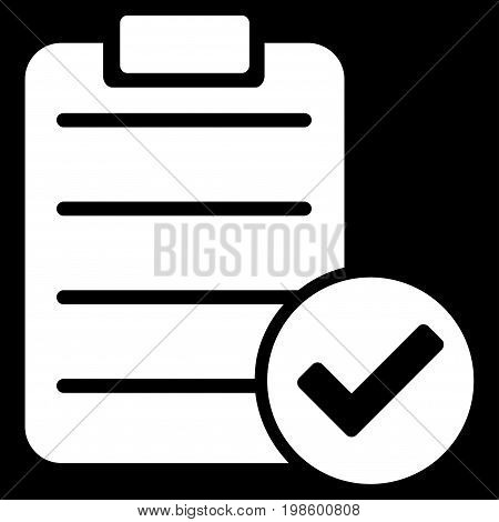 Approve List vector icon. Flat white symbol. Pictogram is isolated on a black background. Designed for web and software interfaces.