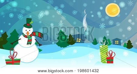 Beautiful countryside winter background with a Snowman and Presents. Vector illustration.
