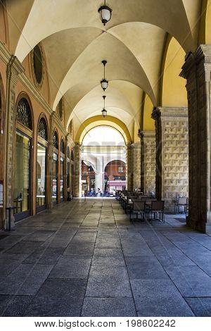 BOLOGNA, ITALY - JULY 22, 2017: the porticoes of the historic center - Emilia Romagna