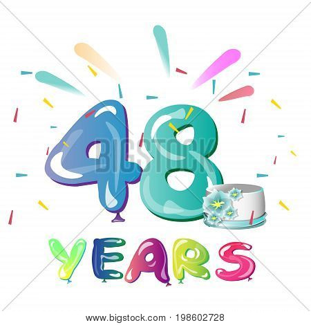 48 Years Anniversary celebration with cake. Vector illustration