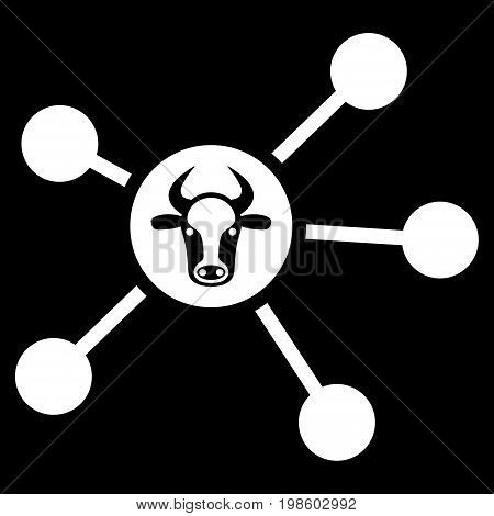 Cow Links vector icon. Flat white symbol. Pictogram is isolated on a black background. Designed for web and software interfaces.