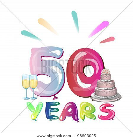 50 years anniversary with cake. Vector illustration