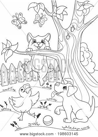 Childrens coloring cartoon animals friends in nature. Duckling, puppy and kitten. Duck, dog and cat. For adults vector illustration. Anti-stress for adult. Black and white lines