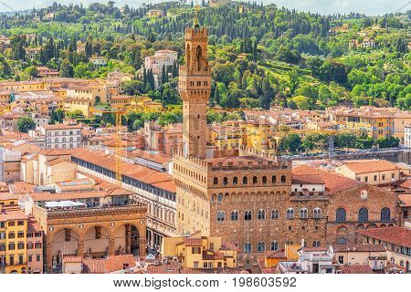 Beautiful Landscape Above- Palace Vecchio (palazzo Vecchio) In Piazza Della Signoria, Built In 1299-