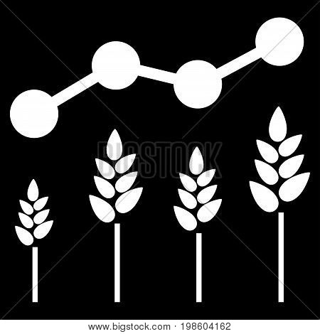 Crop Analytics vector icon. Flat white symbol. Pictogram is isolated on a black background. Designed for web and software interfaces.