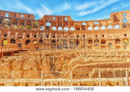Rome, Italy - May 08, 2017 : Inside The Amphitheater Of Coliseum In Rome- One Of Wonders Of The Worl
