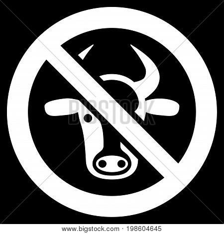 Forbidden Cattle vector icon. Flat white symbol. Pictogram is isolated on a black background. Designed for web and software interfaces.