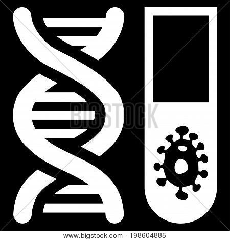 Hitech Microbiology vector icon. Flat white symbol. Pictogram is isolated on a black background. Designed for web and software interfaces.
