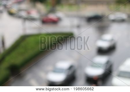 Abstract  Blurred Image Of Traffic Jam After Raining In Bangkok Thailand.