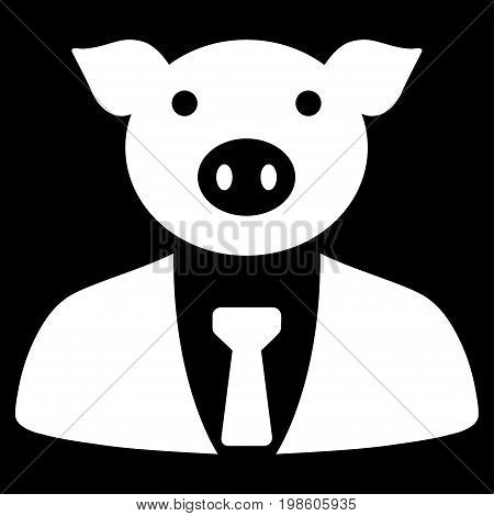 Pig Boss vector icon. Flat white symbol. Pictogram is isolated on a black background. Designed for web and software interfaces.