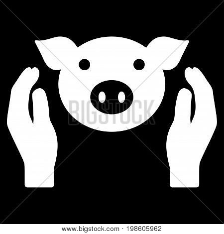 Pig Care Hands vector icon. Flat white symbol. Pictogram is isolated on a black background. Designed for web and software interfaces.