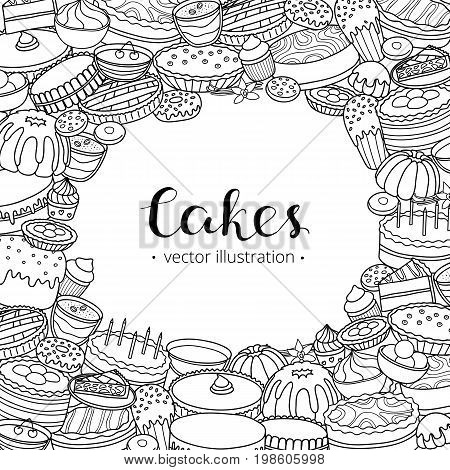 Square background with different uncolored doodle cakes, desserts and lettering. Detailed frame design. Used clipping mask.