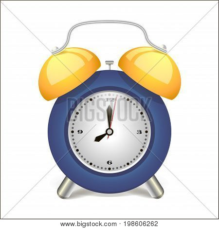 Alarm clock blue awakening time, isolated on background. Vector illustration.Retro design