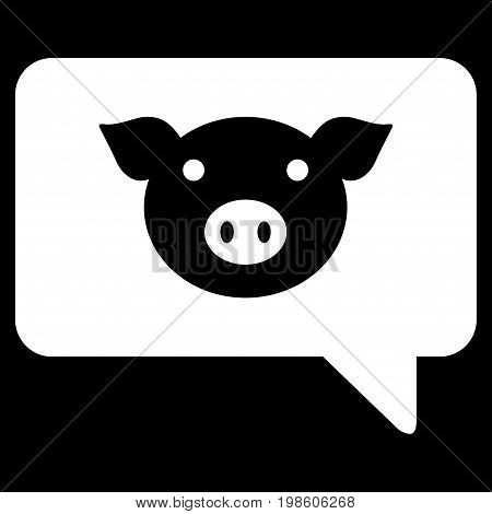 Pig Message vector icon. Flat white symbol. Pictogram is isolated on a black background. Designed for web and software interfaces.