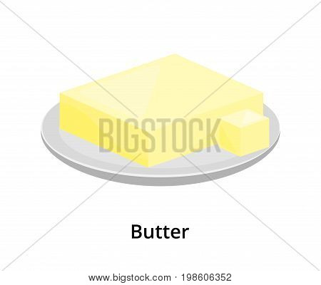 Cartoon creamy butter or margarine on the plate isolated on white background.
