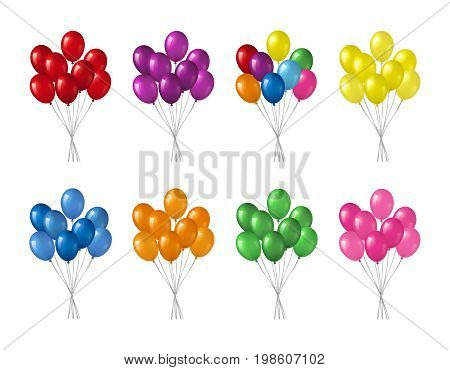 Bunches of colorful helium balloons isolated on white background.