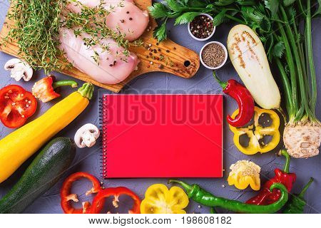 Raw Chicken Breast Fillets With Various Vegetables Ingredients