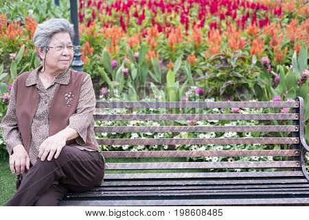 Asian Elder Woman Sitting On Bench In Garden. Elderly Senior Female Resting And Relaxing In Park